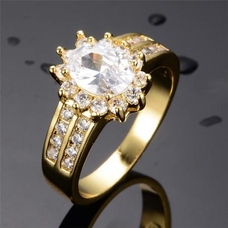 Inel Deluxe - aur 18k si cristale Cubic Zirconia