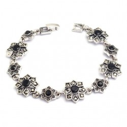 Bratara Black Flower - argint tibetan si cristale