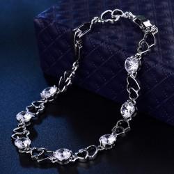 Bratara Double Heart - aur alb si cristale Cubic Zirconia