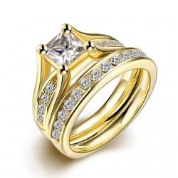 Set verigheta si inel  Model 5 - inox si cristale Cubic Zirconia