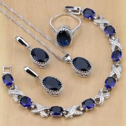 Set bijuterii Sapphire - argint si safire
