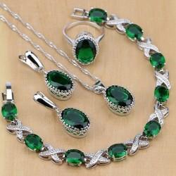 Set bijuterii Emerald - argint si smaralde