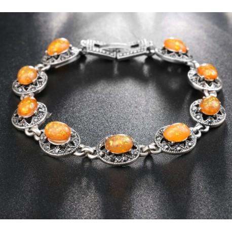 Bratara Amberina - argint tibetan si opal