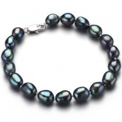 Bratara Black Tears - argint si perle de cultura