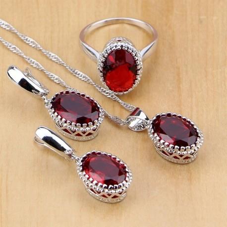 Set bijuterii Supreme Red - argint si rubine