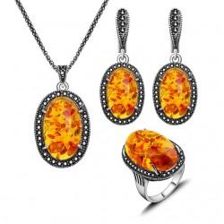 Set bijuterii Carmeline - argint antichizat si agate
