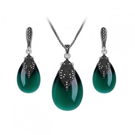 Set bijuterii Green Leaf - argint antichizat si cristale cubic zirconia