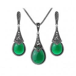 Set bijuterii Indian Drop - argint antichizat si cristale cubic zirconia