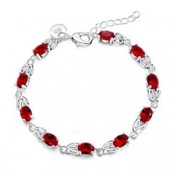 Bratara Oval Red - argint si cristale Cubic Zirconia