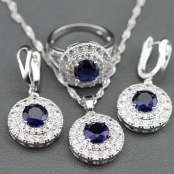 Set bijuterii Della - argint si cristale safire