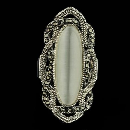 Inel Statement - argint tibetan si opal
