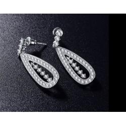 Cercei Long Drop - platina si cristale Cubic Zirconia