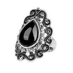 Inel Black Water Drop - argint si cristale