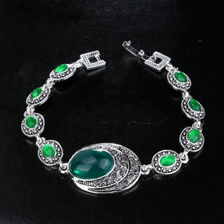 Bratara Resina - argint tibetan si cristale
