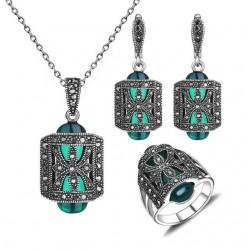 Set bijuterii Lesal - argint antichizat si marcasite