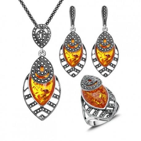 Set bijuterii Amber - argint antichizat si chihlimbar