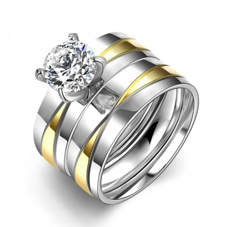 Set verigheta si inel  Model 7 - inox si cristale Cubic Zirconia