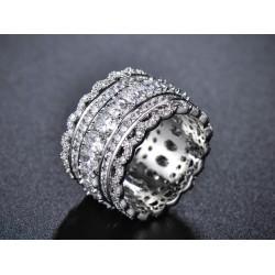 Inel Luxury - rodiu si cristale Cubic Zirconia