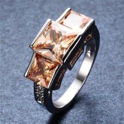 Inel Siena - aur alb si cristale Cubic Zirconia