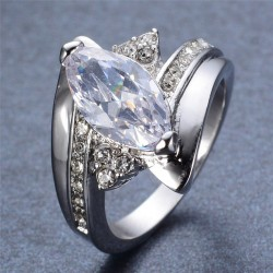 Inel Charming - aur alb si cristale Cubic Zirconia