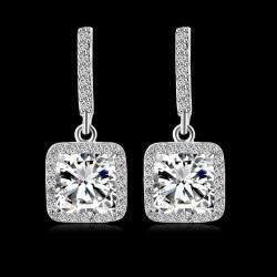 Cercei Fashion Square - platina si cristale Cubic Zirconia