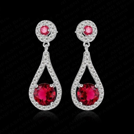 Cercei Boucle Rouge - platina si cristale Cubic Zirconia