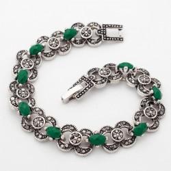 Bratara Green Stones - argint tibetan si cristale