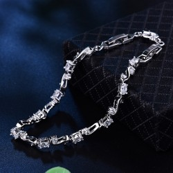 Bratara S - aur alb si cristale Cubic Zirconia