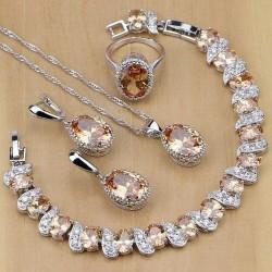 Set bijuterii Morganit - argint si morganite