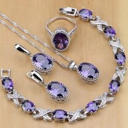 Set bijuterii Amethist - argint si ametist
