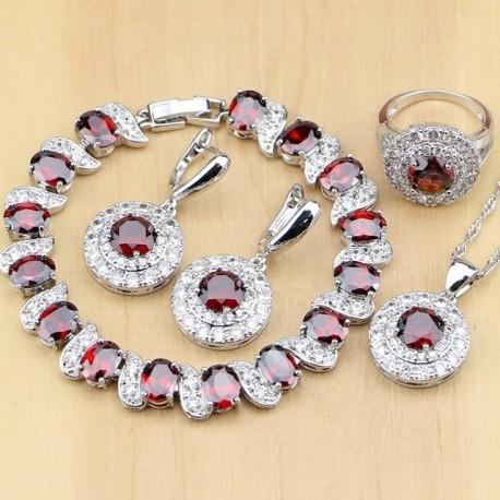 Set bijuterii Red Garnet - argint si cristale topaz