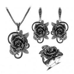 Set bijuterii Flower - argint antichizat si cristale