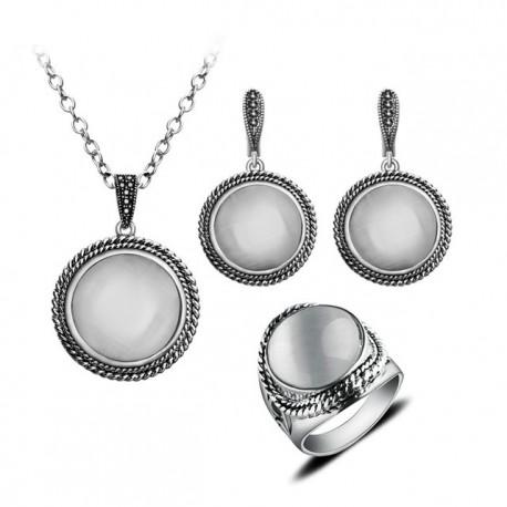 Set bijuterii Juliete - argint antichizat si opal