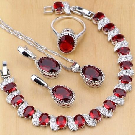 Set bijuterii Red Charm - argint si rubine