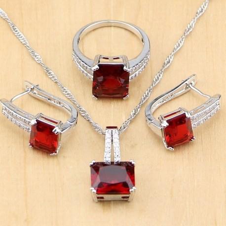 Set bijuterii Red Stones - argint si rubine