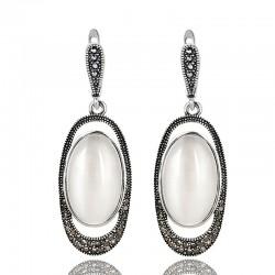 Cercei Aloje - argint tibetan si opal