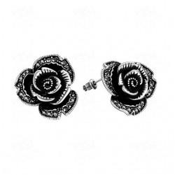 Cercei Black Rose - argint tibetan si cristale