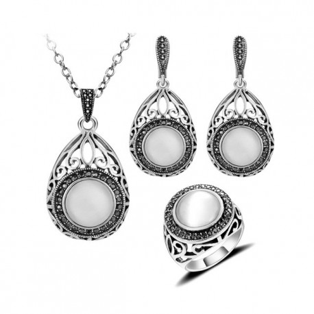 Set bijuterii Clarinne - argint antichizat si opal