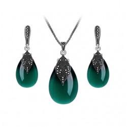 Set bijuterii Green Leaf M1 - argint antichizat si cristale cubic zirconia