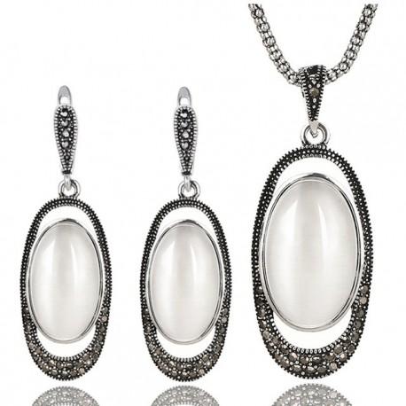 Set bijuterii Aloje - argint antichizat si cristale cubic zirconia