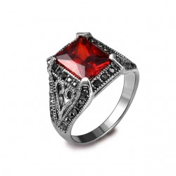 Inel Red Charm - argint si cristale