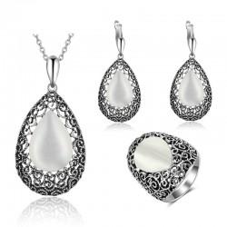Set bijuterii Chrystie - argint antichizat si opal