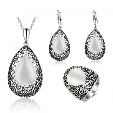 Set bijuterii Christie - argint antichizat si opal