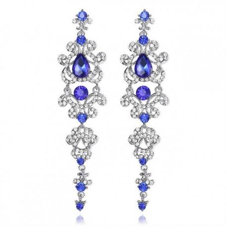 Cercei Blue Crystal - argint si cristale Austrian