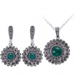 Set bijuterii Sunflower - argint antichizat si cristale