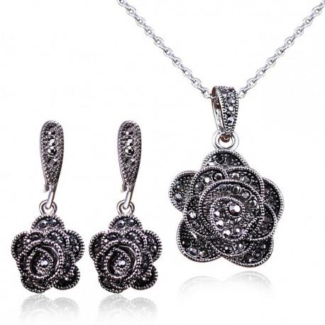 Set bijuterii Little Rose - argint antichizat si cristale