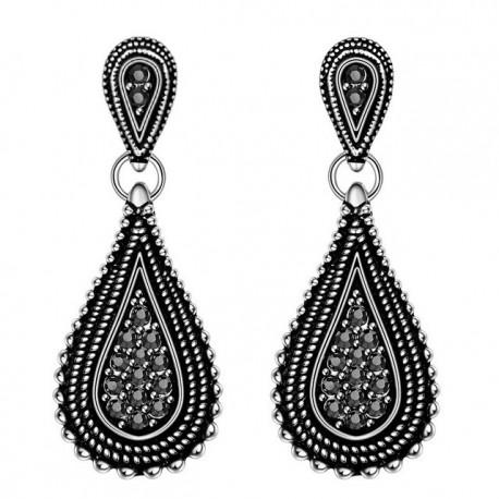 Cercei Black Stones - argint tibetan