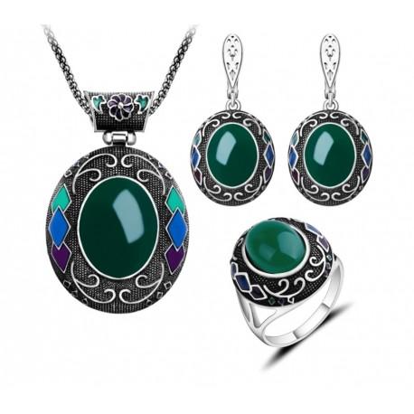 Set bijuterii Big Oval - argint antichizat