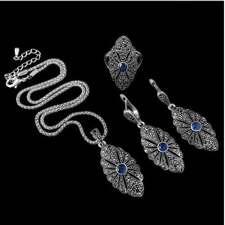 Set bijuterii Casey - argint antichizat si cristale