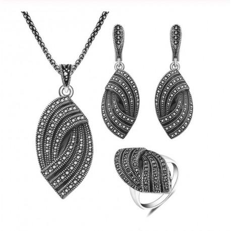 Set bijuterii Geometric - argint antichizat si cristale
